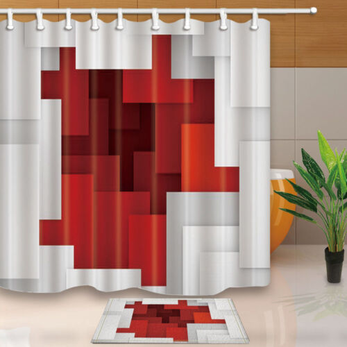 Red White Squares Print Bathroom Shower Curtain Waterproof Fabric w//12 Hooks new