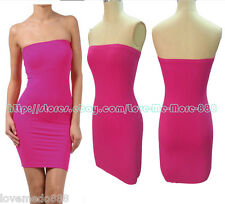 Basic Casual Club Party Tube Strapless Stretch Slim Fitted Mini Dress PINK Small