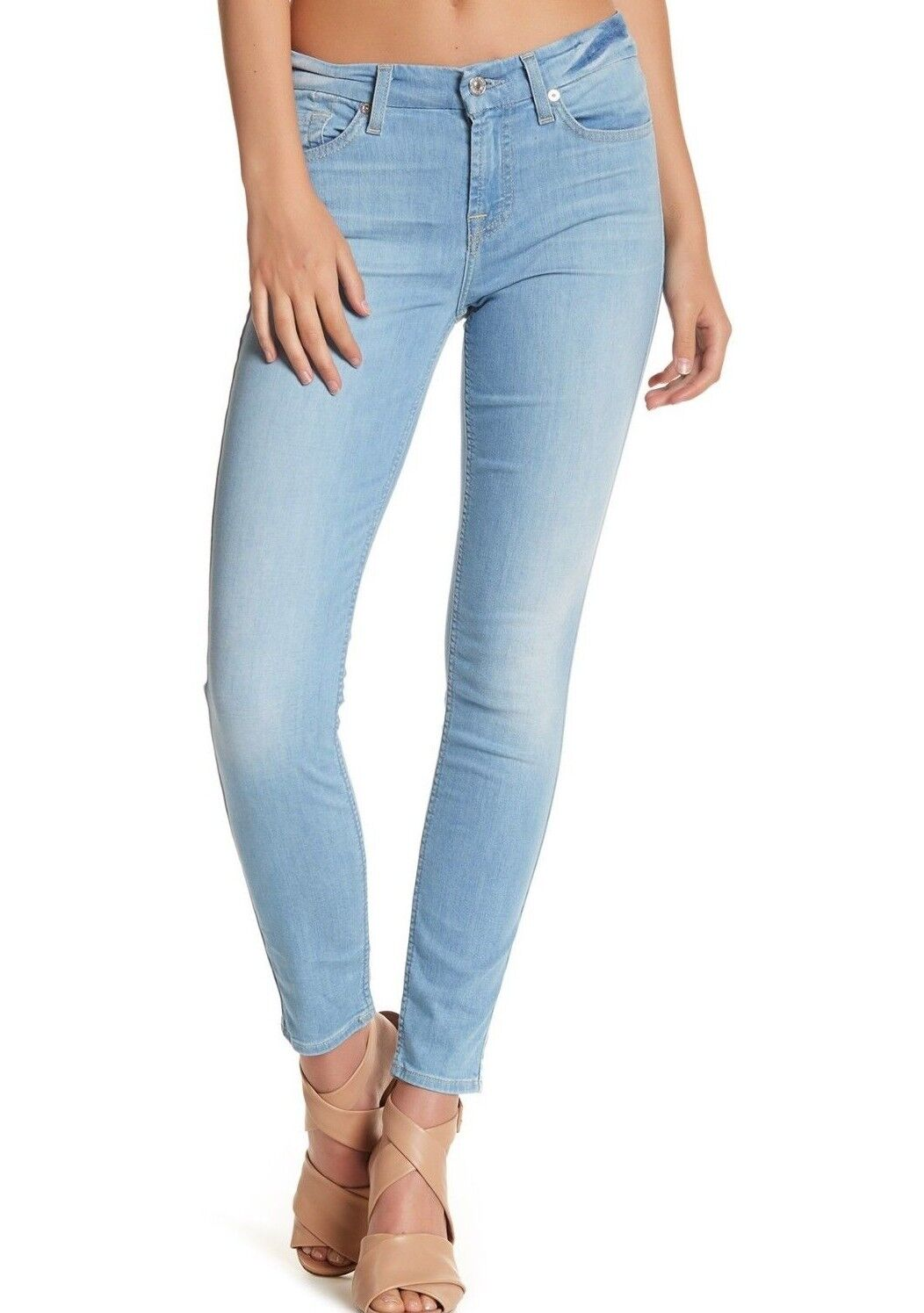 NWT 7 FOR ALL MANKIND Sz28 THE ANKLE SKINNY HI-WAIST JEANS CLOUD blueE FEATHE 199
