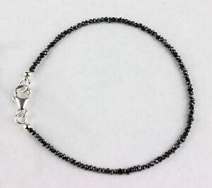 Roh Diamant Armband Edelsteinarmband Schwarz Rohdiamant Unisex 925 Silber 19 cm