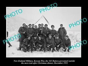 OLD-LARGE-HISTORIC-PHOTO-OF-KOREAN-WAR-NEW-ZEALAND-163-BATTERY-AT-XMAS-c1951