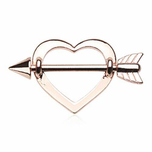 Silver /& Golden /& Rose Gold Cupid/'s Heart Nipple Shield Ring