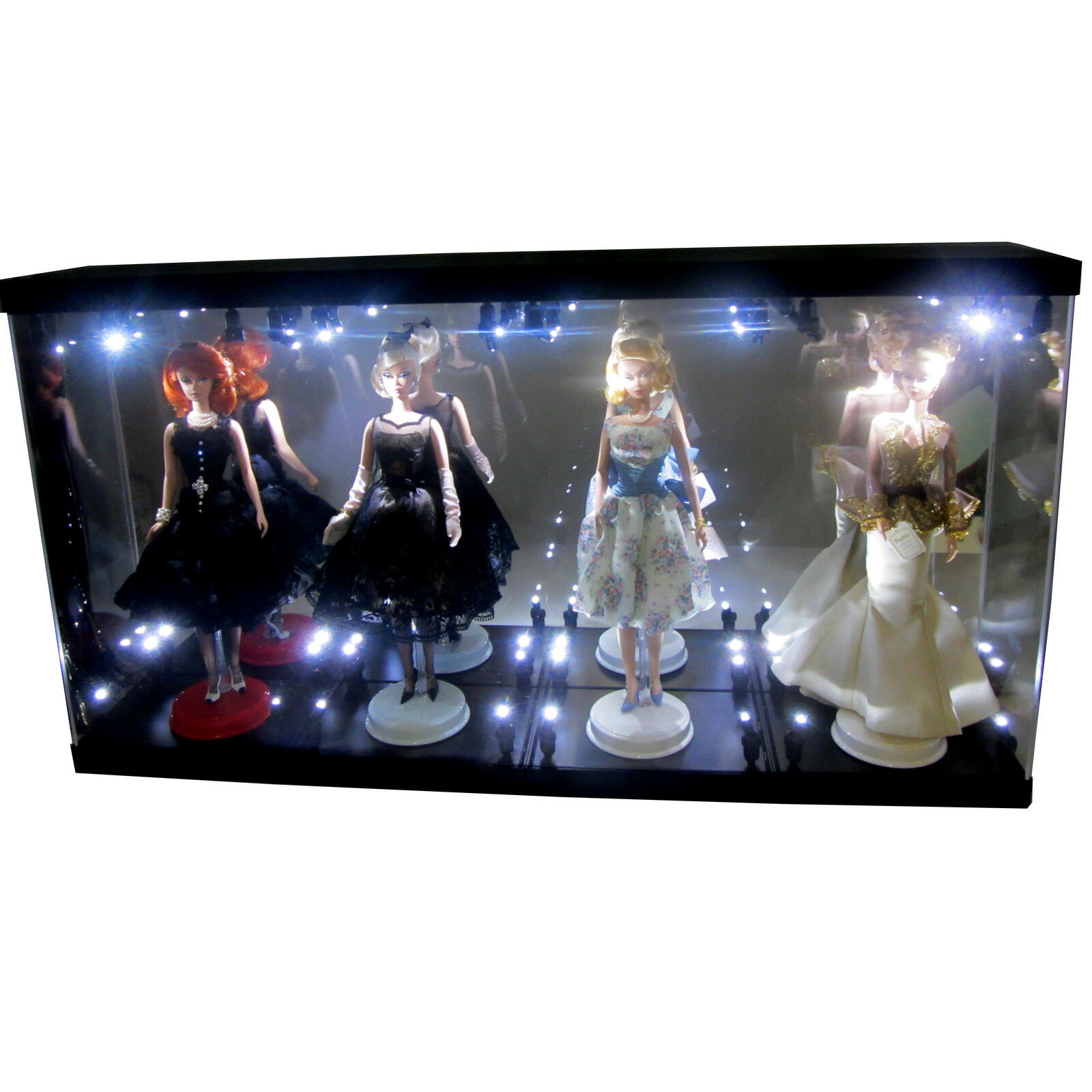 MB Acrylic DisJugar Case Light Box for Four Silkstone Barbie Collection Doll 2018
