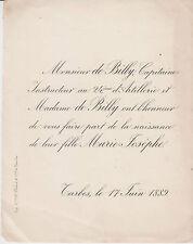 § FAIRE-PART NAISSANCE MARIE-JOSÈPHE DE BILLY, TARBES, 1889 §