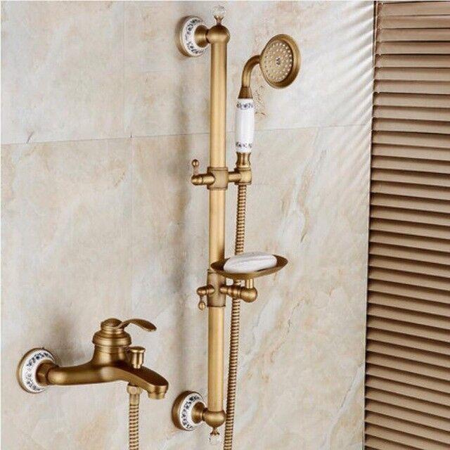 SUPPORTO a parete in ottone anticato bagno Vasca da Bagno Rubinetto Mixer a mano Held Doccia Rubinetto ALZATA