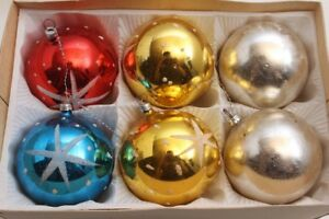 Christbaumkugeln Gelb.Details Zu 6 Weihnachtskugeln Christbaumkugeln Gelb Blau Rot Weiß Weihnachtsschmuck
