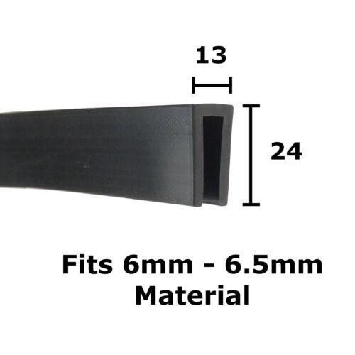 Ribete de canal de Caucho Negro U Adorno Sello 24 Mm x 13 mm por la casa de Metal