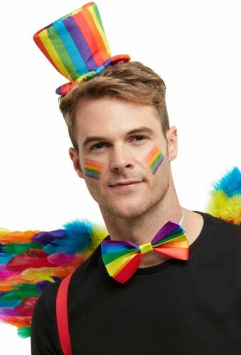 Rainbow Mini Top Hat On Headband Pride Adults Fancy Dress Accessory