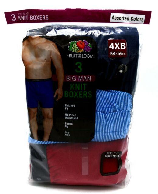 Mens 3 Pack Knit Boxers 4XB Big Man 4XL Assorted Colors Lot