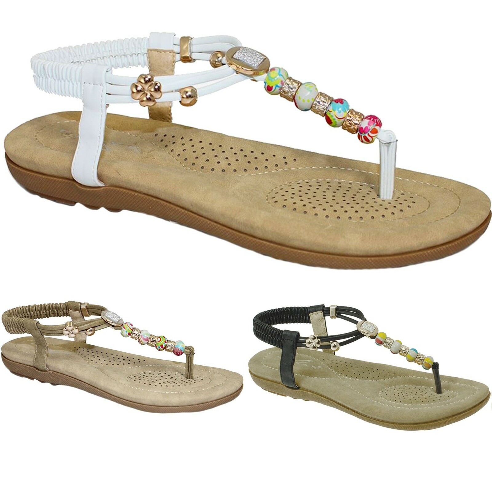 JLH708 Beech Ladies Beaded Vibrant Comfortable Thong Fashion Beach Sandals