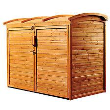 Outdoor Storage Shed Garden Backyard Wooden Utility Organizer Garbage Can Holder