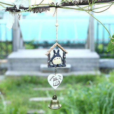 Japanese Totoro Wooden House Landscape Garden Outdoor Home Wind Chime Bells