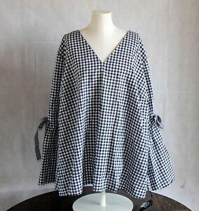 1313831bf5c Ava   Viv Womens Plus 3X Top Black White Gingham Tie Bell Sleeve ...
