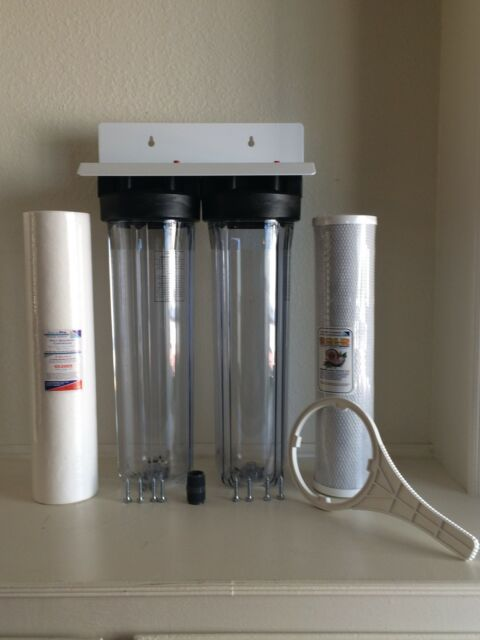 """Whole House Big Blue Water Filtration System 20"""" Clear Commercial Filters 1"""" NPT"""