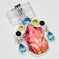 Designer Camel Bone Carved Orange Frog, Multi-gemstones .925 Silver Pendant 2