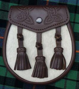 3 Quasten Keltisch Knoten Geprägt Schwarz Schottische Riegel Stift Kilt Sporran