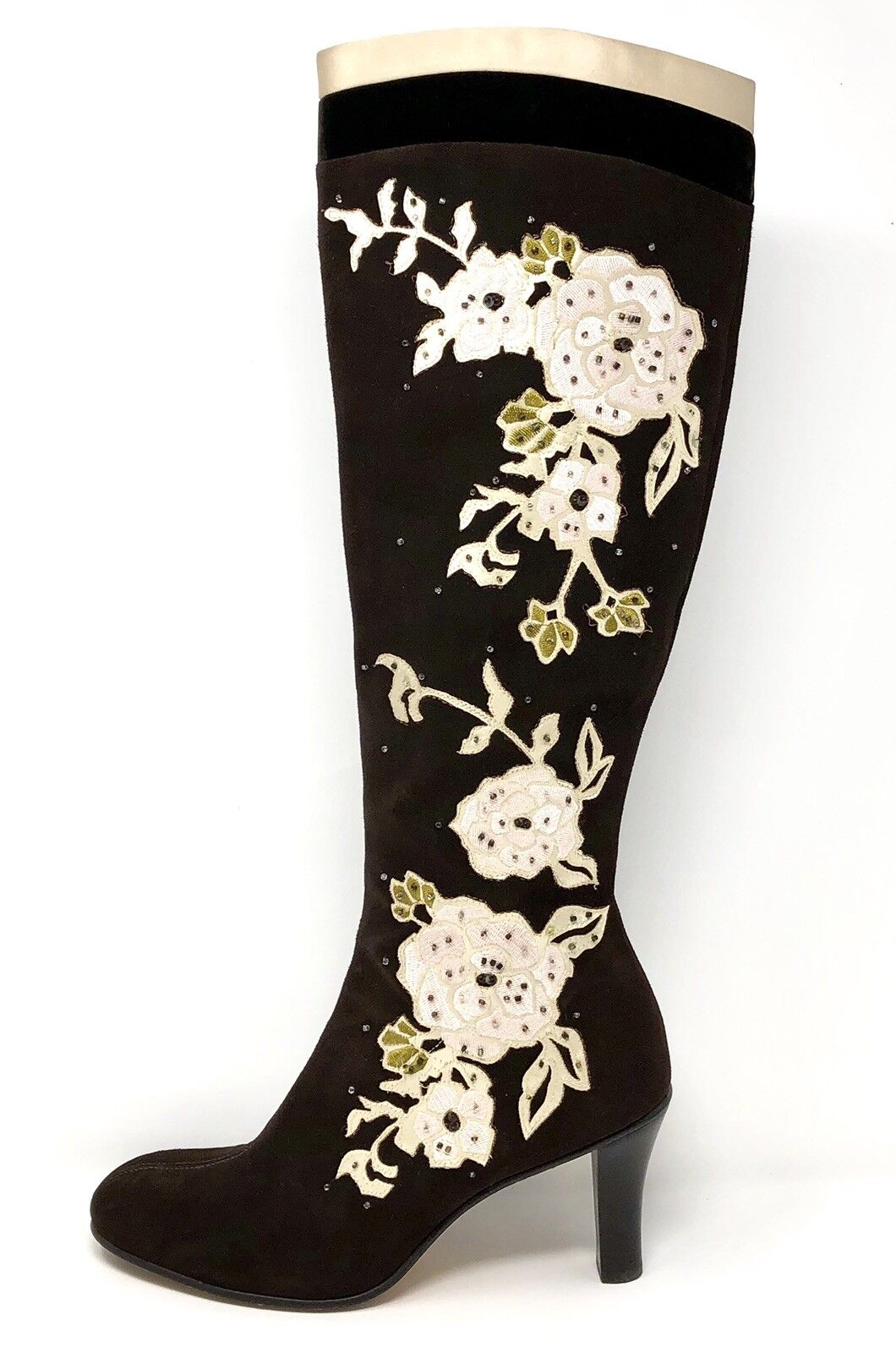 Cole Haan Womens Size 8B Kyrene Brown Brown Brown Suede Floral Embroidered Tall Zip Up Boots f3e4b9