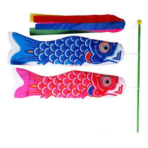 "Blue Koi Nobori NYLON Carp Windsock Fish Kite Made in Japan 4M Japanese 156/"""