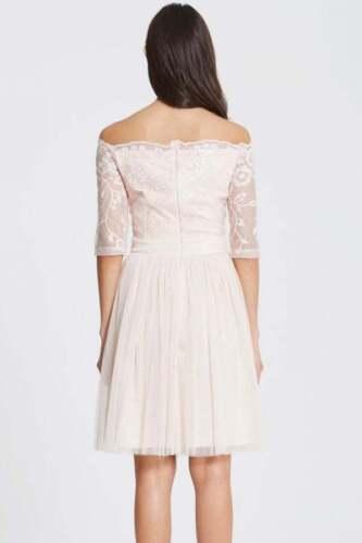 Dress Uk 6 O Little Prom Mistress Box46 e Bardot Ricamo 37 Nude Paillettes Size znw0qv