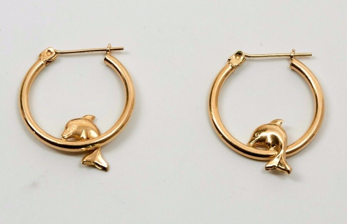 14K Yellow gold Hoop Earrings with Dolphins