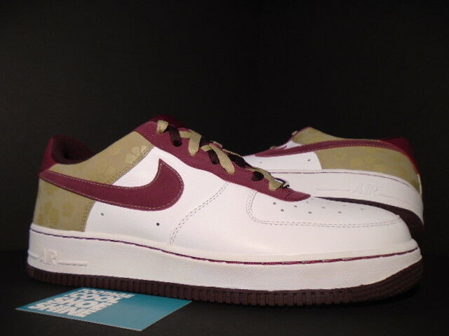 2007 Nike Air Force 1 '07 WHITE GARNET RED TWEED BROWN BURGUNDY FLORAL 12 10.5