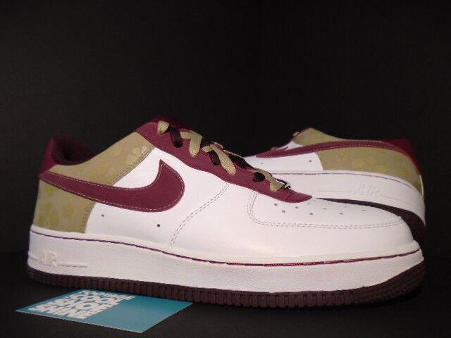 2007 Nike Air Force 1 '07 WHITE GARNET RED TWEED BROWN BURGUNDY FLORAL 12 10.5