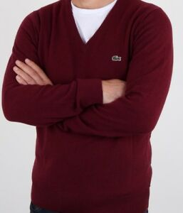 7a299f7d542 Details about LACOSTE JUMPER 100% WOOL BNWT - 2XL T7 - RED - V NECK -  AH3003 - RRP £110