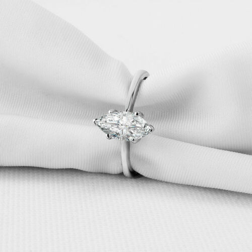 1 CT Marquise-cut Diamond Solitaire ENGAGEMENT RING 14K WHITE GOLD ENHANCED 8.5