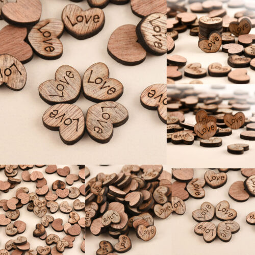 100pcs Rustic Wooden Love Heart Wedding Table Scatter Decoration Wood Crafts