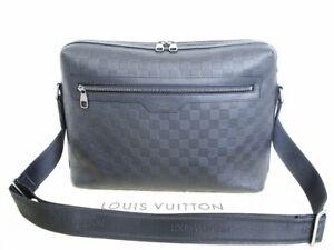 Auth-LOUIS-VUITTON-Damier-Infini-Black-Leather-Messenger-Bag-Calypso-GM-3872