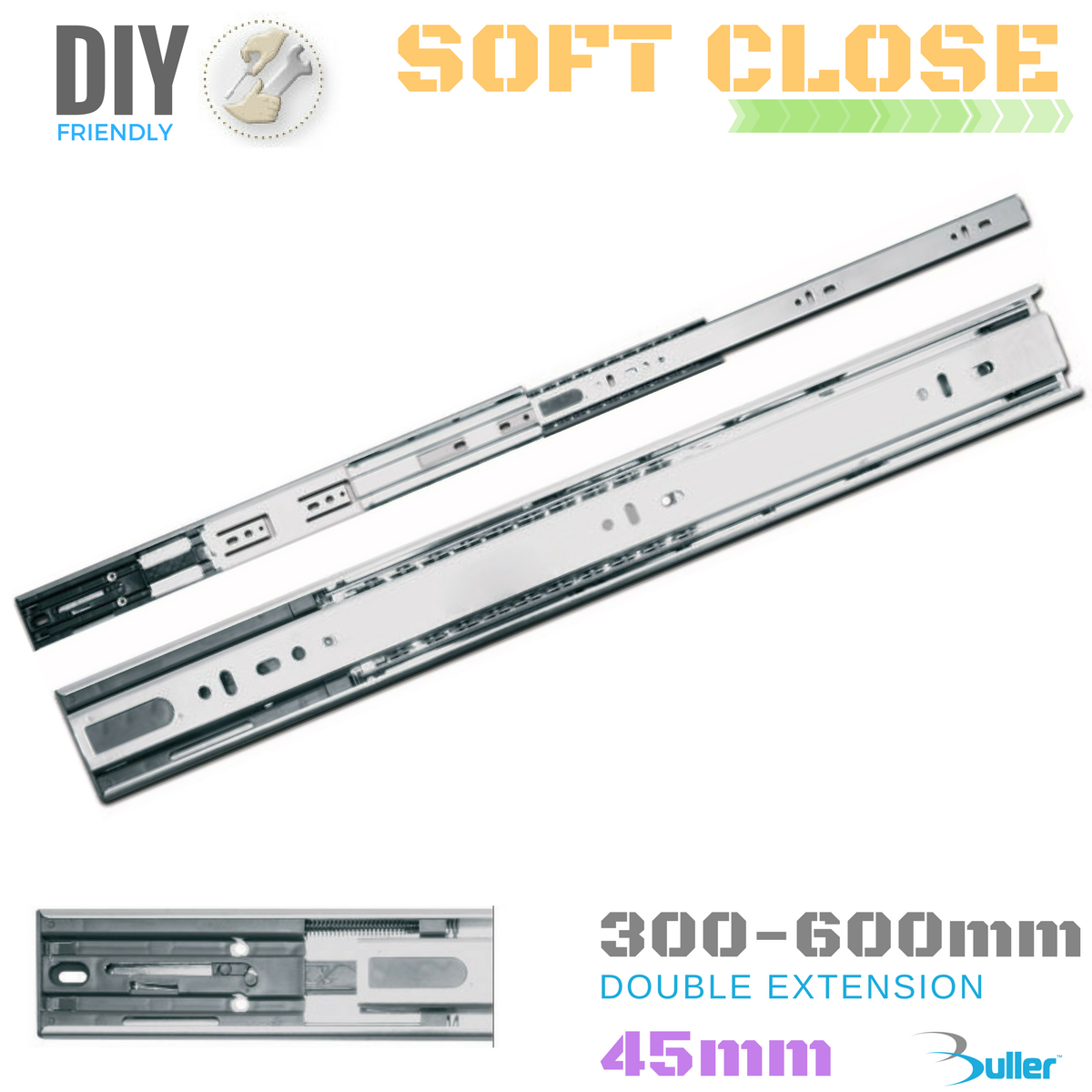 Drawer Runner Slide   Soft-Close   45mm    Full Extension   30kg Größes 300-600mm