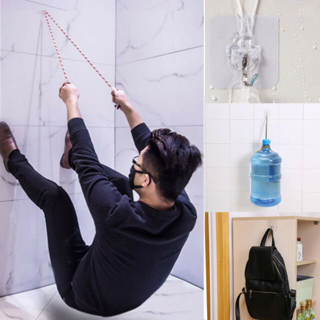 3x Strong Transparent Suction Cup Sucker Wall Hooks Hanger For Kitchen Washroom