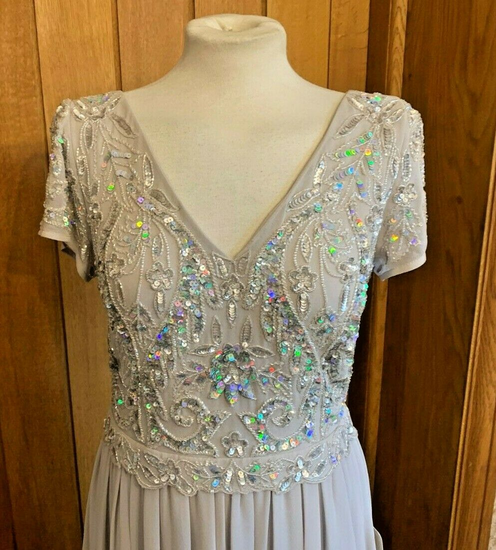 ADRIANNA PAPELL BEADED LONG DRESS SIZE 8 MARBLE AP1E207702