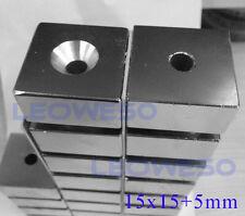 5 X Cuadrado Imán De 15 Mm X 15mm de tierras raras de neodimio con 5 mm Orificio No. 1722