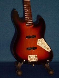 Miniature Guitar JACO PASTORIUS Sunburst JAZZ Bass GIFT Memorabilia FREE STAND