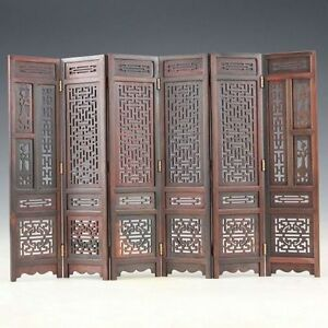 Hand-carved-Chinese-Boxwood-Sculpture-Folding-Screen