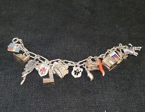 Image Is Loading Vintage Sterling Silver European Travel Charm Bracelet