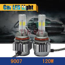 120W LED Headlight Kit 12000LM 9007 HB5 Hi/Lo Beam 6000K White High Power Bulbs