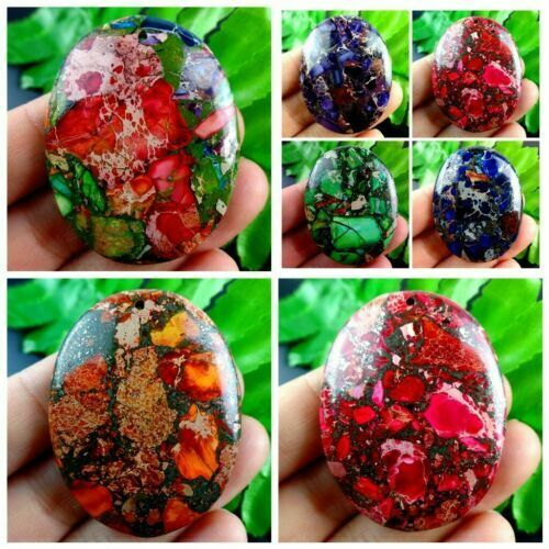 Pretty Mixed Colour Sea Sediment Jasper /& Pyrit Oval Pendant Bead A-DHS9RL
