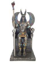 Anubis Sitting In Throne Sculpture Egyptian God Statue Figurine