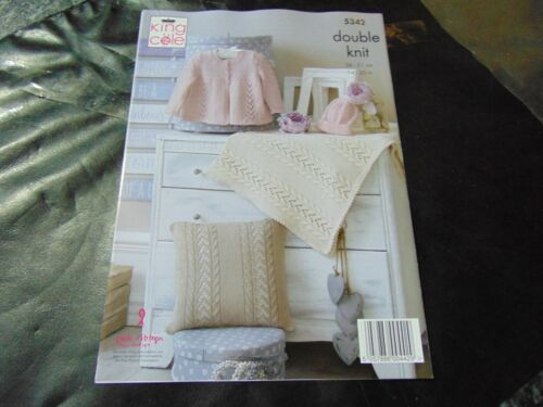 King Cole Double Knitting Pattern 5342 Matinee Jacket Hat Cushion /& Blanket