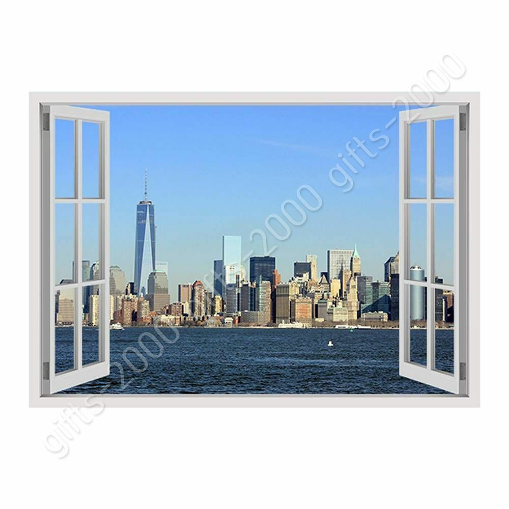 Manhattan Skyline by Fake 3D Window   Canvas (Rolled)   Wand Kunst oil painting