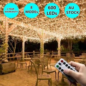 600LED-Warm-White-Waterfall-Curtain-Fairy-String-Lights-Wedding-Party-Decor-RC