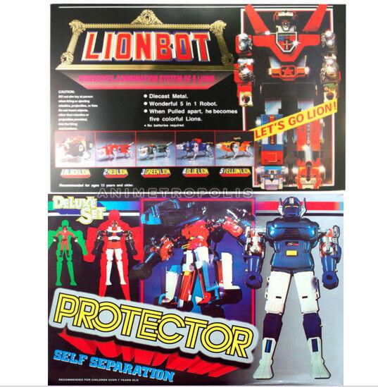 Gordiano 80-90s Clásico CHOGOKIN DIECAST figura   Projoector & Voltron Lionbot Conjunto