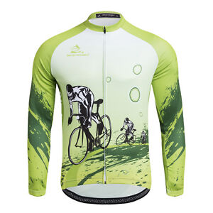 Green Cycling Men s Long Sleeve Cycle Jersey Bike Bicycle Jersey ... 3d6a6fcb3