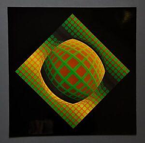 Victor-Vasarely-VEGA-ZETT-01-1971-Grafik-Kunstdruck-Op-Art-Hochglanz-Print-41x41