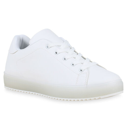 Damen Sneaker Low Schnürer Profil Sohle Flache Freizeit Schuhe 830715 Trendy