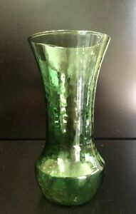 Hand-Blown-Clear-Green-Dimpled-Glass-Bottle-Bud-Vase-Carafe-Retro-Vintage-Unique