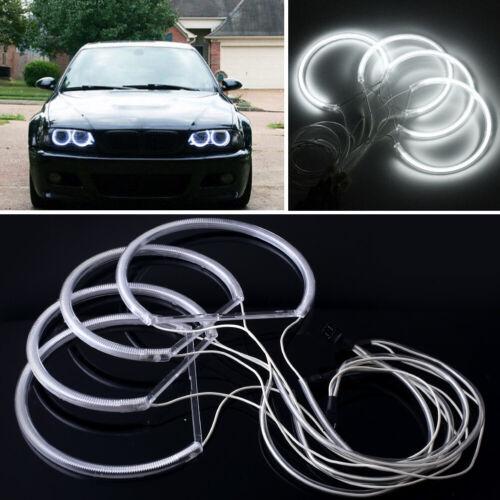 4X Angel Eye Halo Ring Light CCFL Headlight For Car BMW E46 Series White DC12V