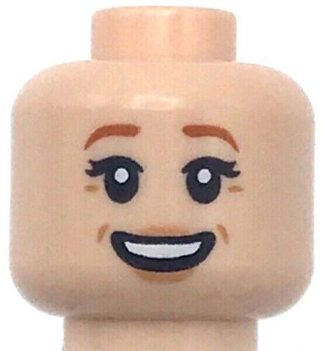 Lego New Light Flesh Minifigure Head Dual Sided Female Dark Orange Eyebrows